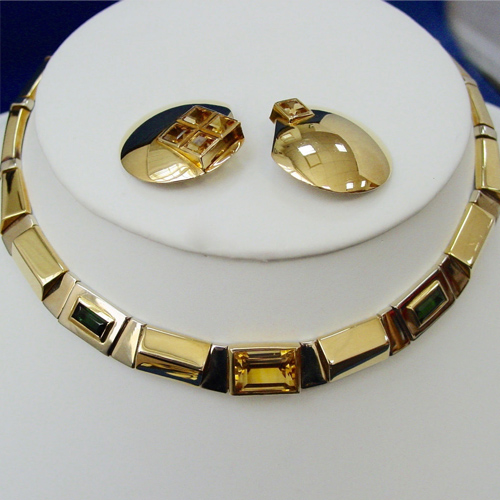 Necklace and Clip Earring Set by Manfredi