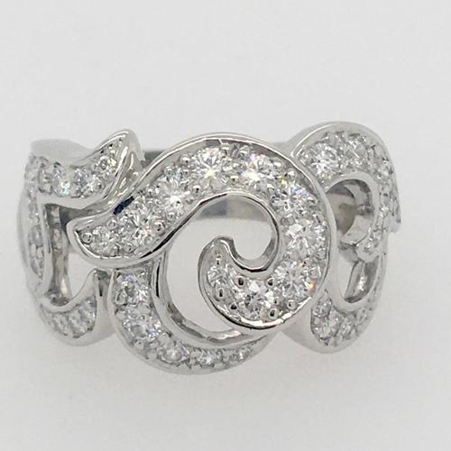 Pave Diamond and Platinum Swirl Design Ring