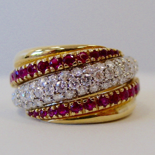 Red Ruby and Diamond Band Ring