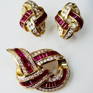 Ruby and Diamond Brooch and Earring Set