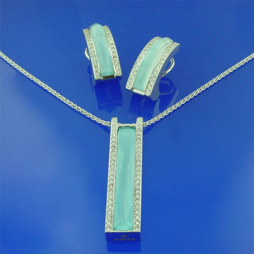 Turquoise Crystal Haze Pendant Necklace and Earring Set