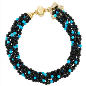 Turquoise and Onyx Bead Necklace