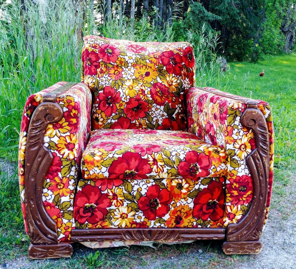 vintage armchair club chair floral upholstery beholdher.life