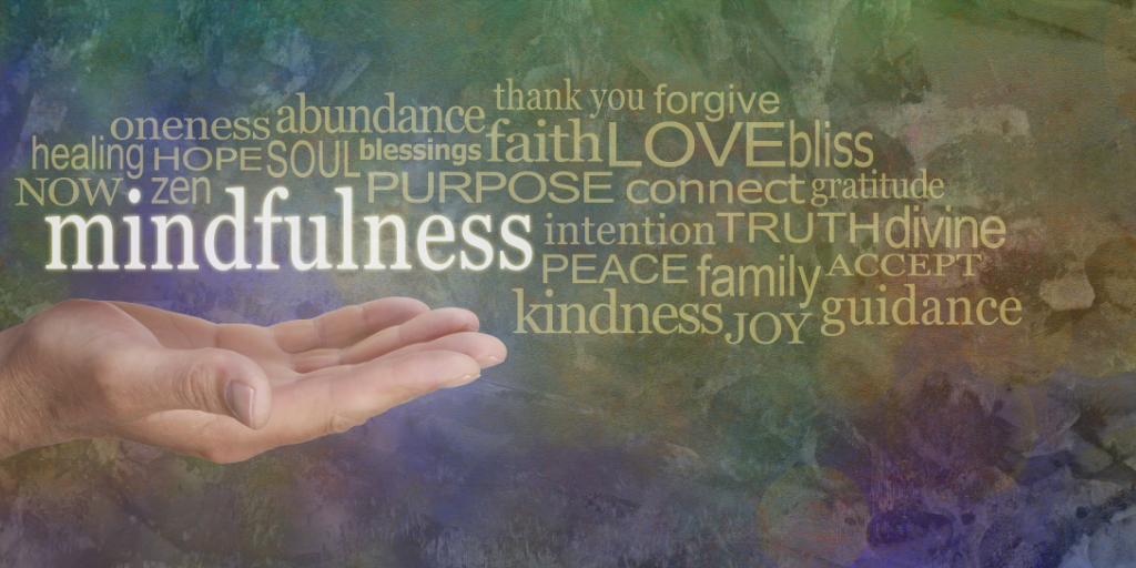 Word image focusing on Mindfulness and Gratitude. beholdher.life