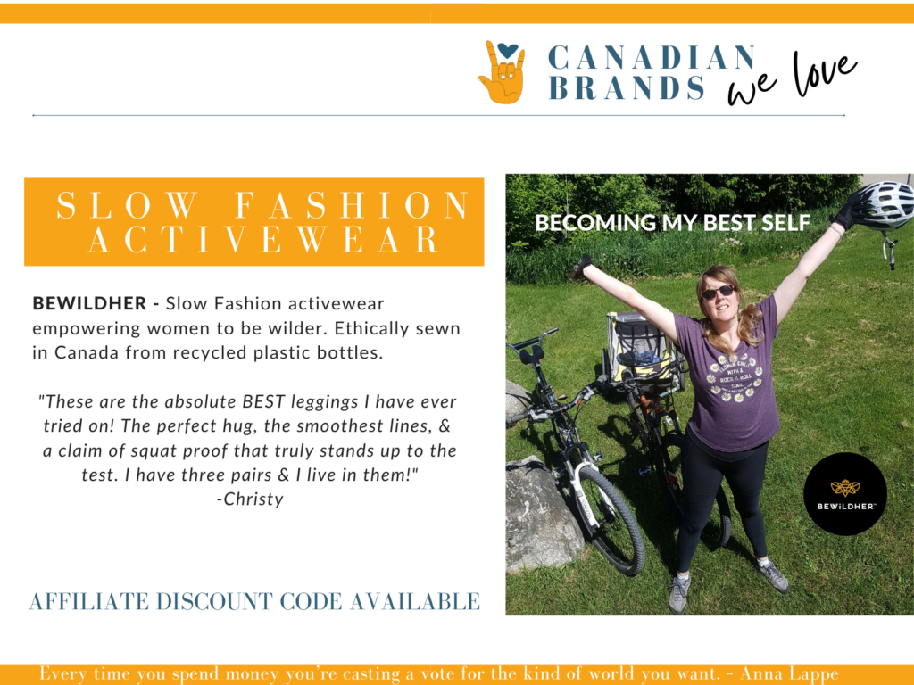 beholdher.life Canadian Brand We Love featuring bewildHER - Slow Fashion Activewear located in British Columbia. Graphic of Female in activewear standing arms outstretched next to two bicycles.