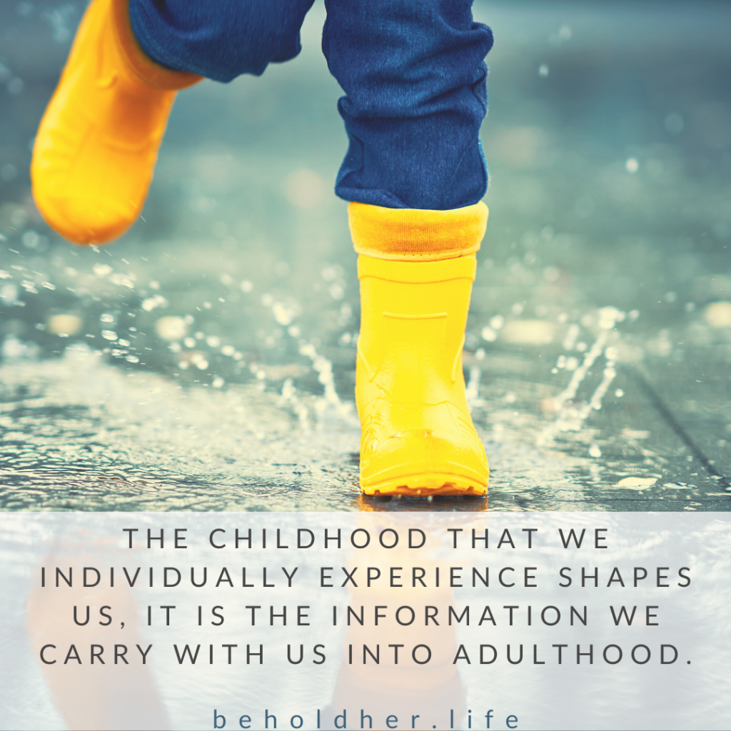 The childhood that we individually experience shapes us, it is the information we carry with us into adulthood. beholdher.life Blog Article - A Mother's Childhood