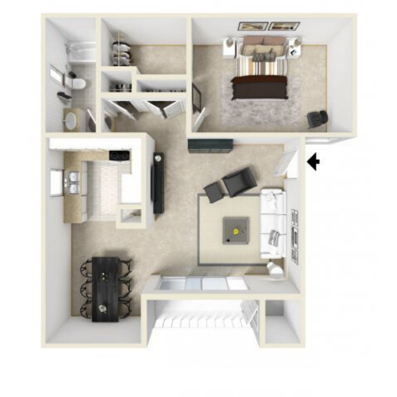 1 Bed 1 Bath 728 Sq Ft Floor Plan