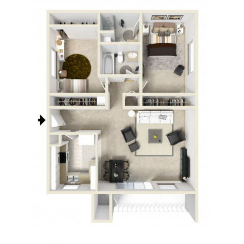 2 BEDROOM, 2 BATHROOM Floor plan