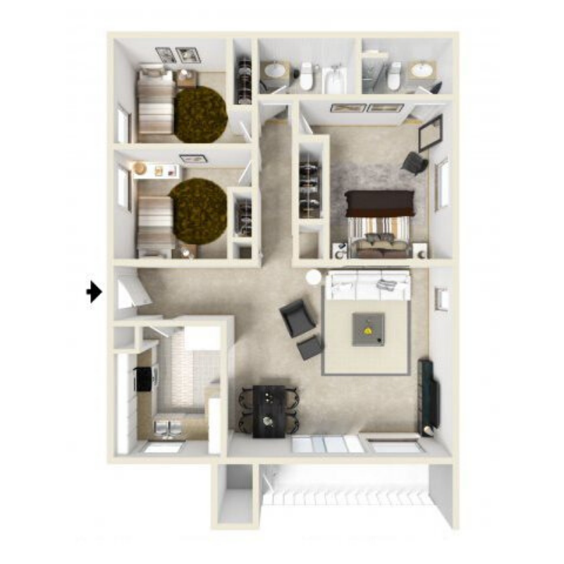 3 BEDROOM, 2 BATHROOM Floor plan