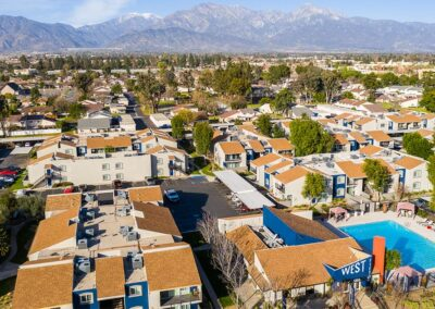 Aerial View of West Fifth Apartment Community and Pool