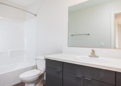 Empty Black and White Bathroom