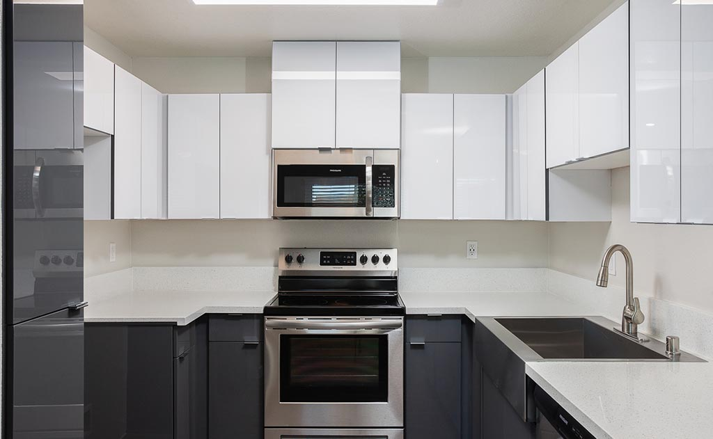 Overview of kitchen with stainless steel appliances