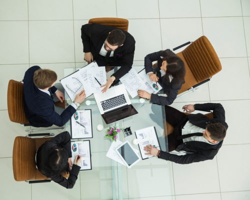 ceo-business-team-working-meeting-view-top-modern-office-88460911