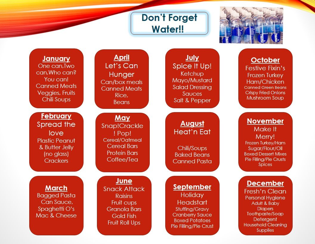 2021 Food Drive Calendar