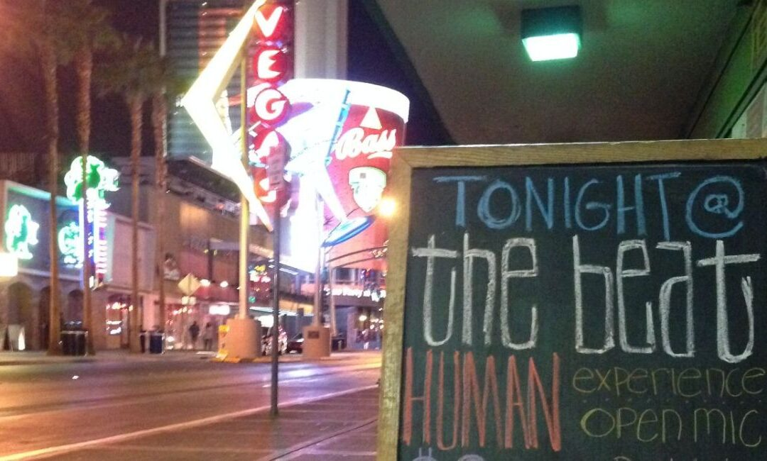 sandwich board sign for The Human Experience in Las Vegas