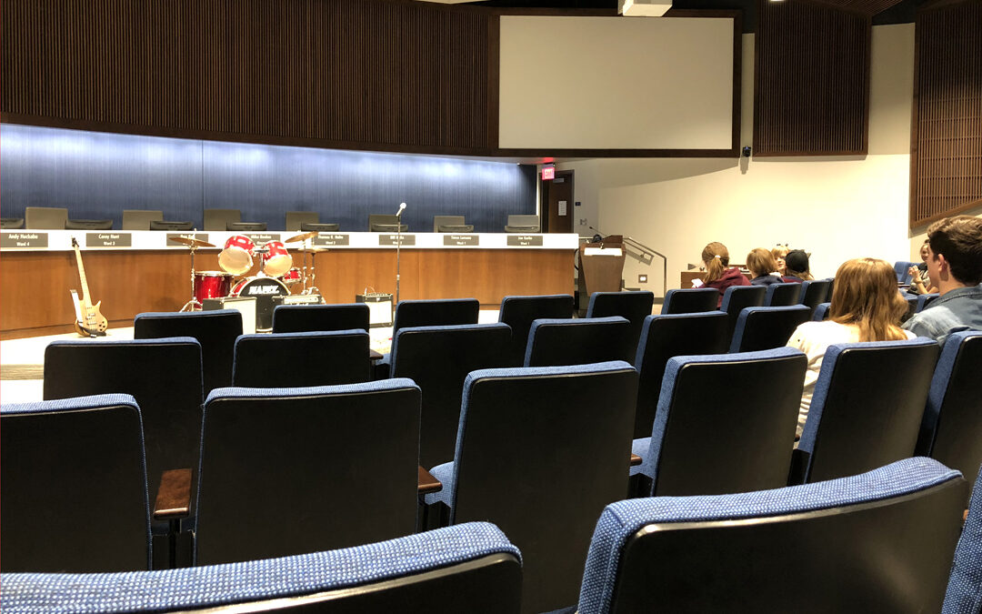 the makeshift open mic stage at Lenexa City Hall