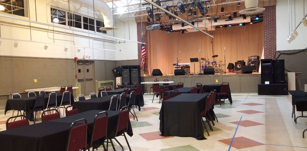 stage and hall at Yorklyn's Center for Creative Arts