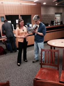 Len Vlahos and Teen Book Crew facilitator Jakeh Hall