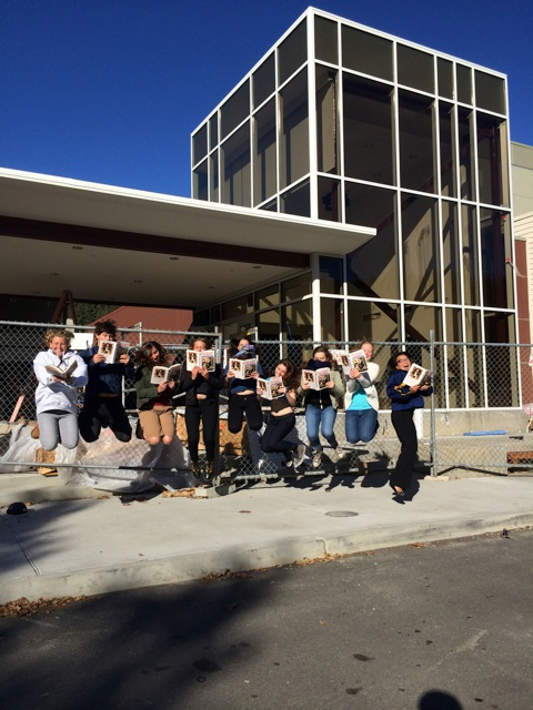 Students from SLVHS who attended Bookshop Santa Cruz's Neil Patrick Harris event with their principal Karen Van Putten, levitating as only NPH fans know how!