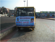WW Day, School Bus with Banner