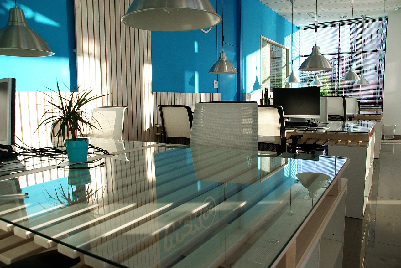 White and blue office interior