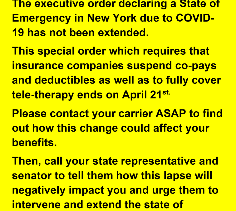 TIME IS RUNNING OUT: EXTEND THE NEW YORK STATE OF EMERGECNY ORDER, NOW !