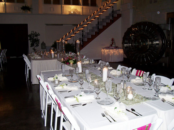 Tuscan style head table in front of vault (significant others of wedding party included).