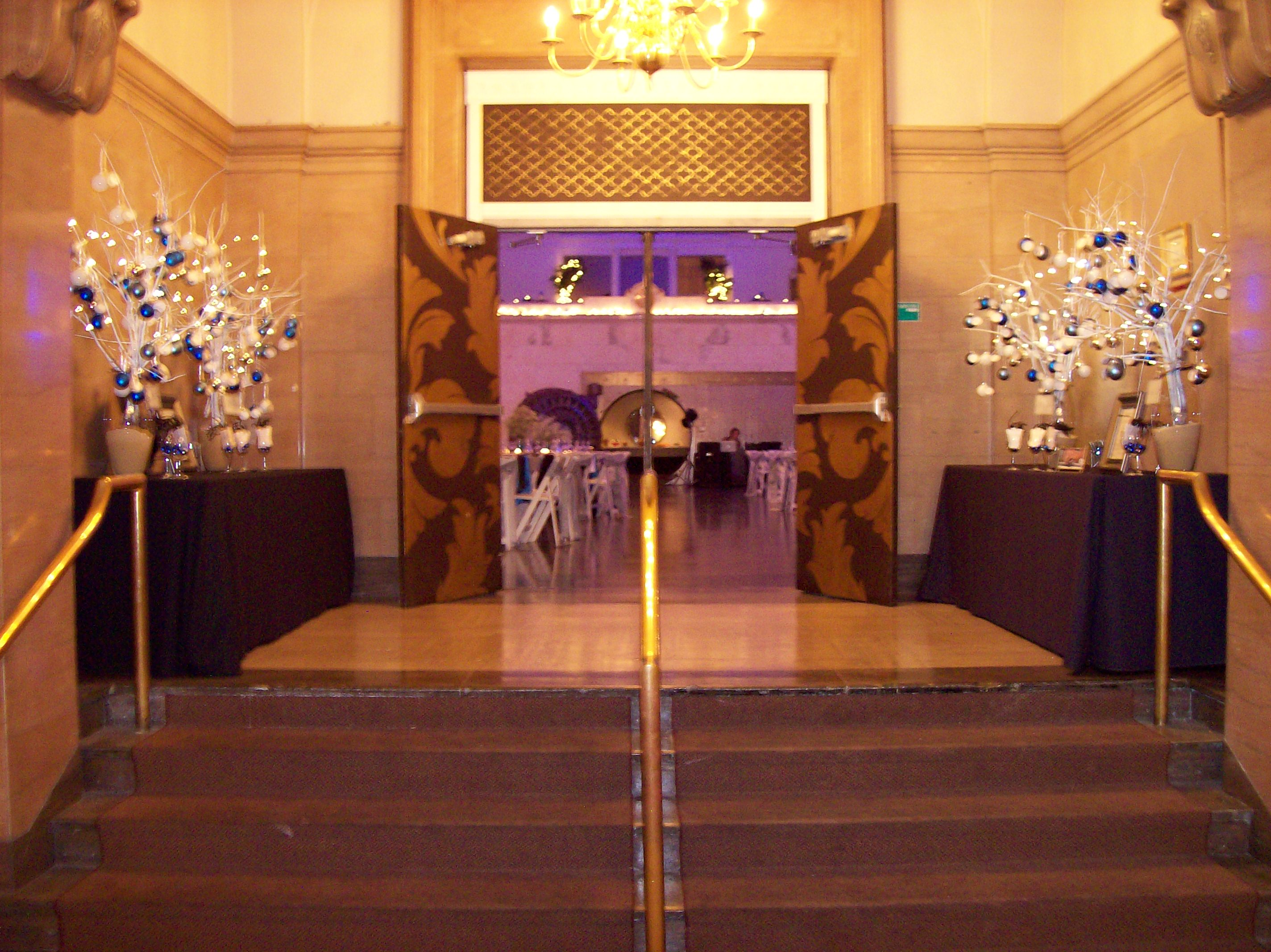 Tables in hall for guestbook, place cards, etc.