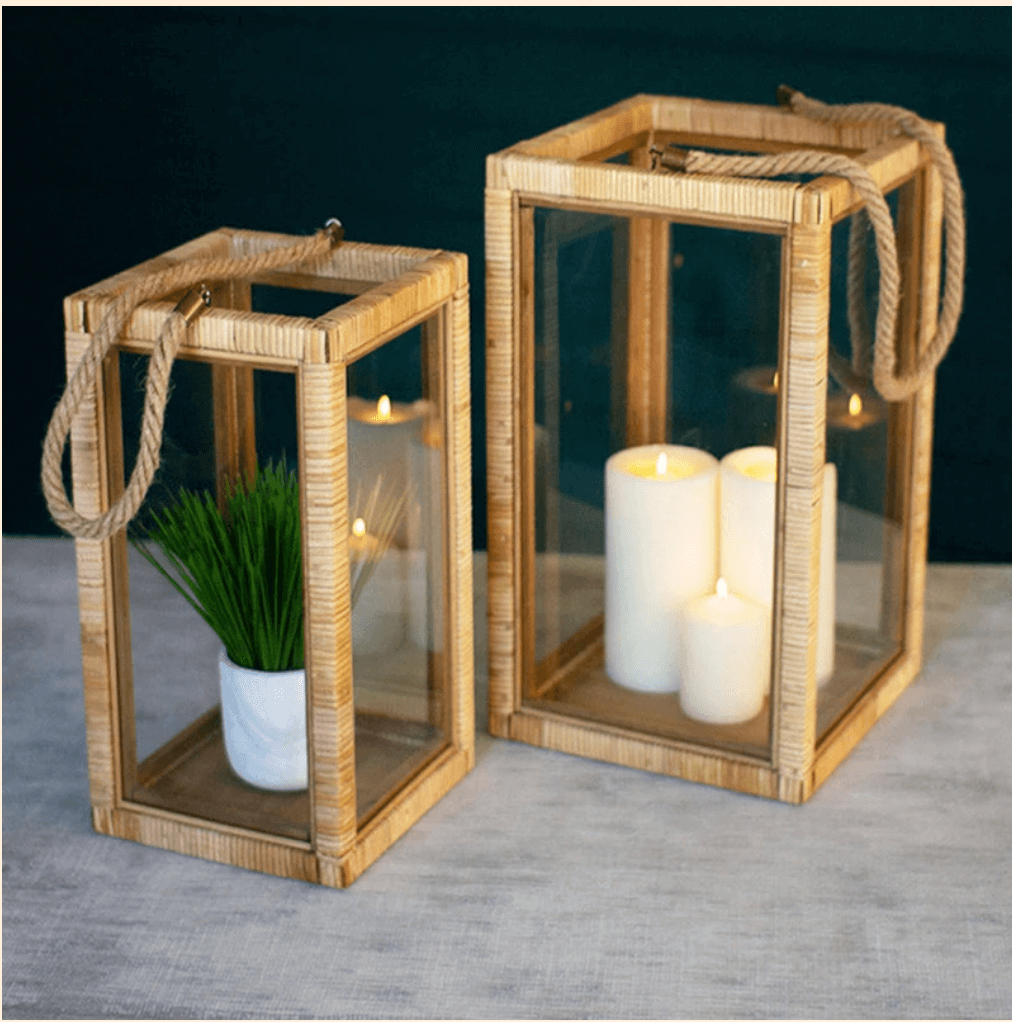Set of Large Rattan Lanterns