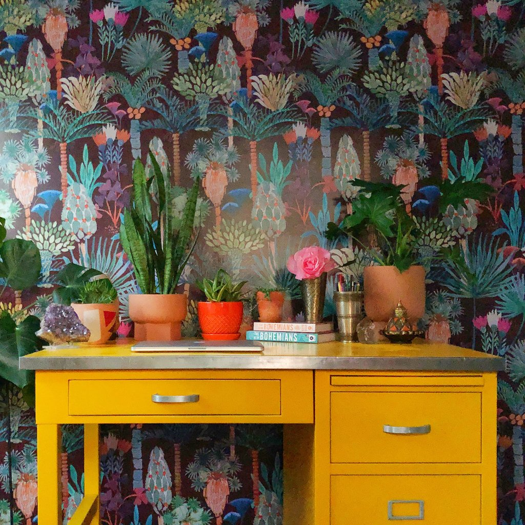 Phoenix Wallpaper in Vino by Justina Blakeney