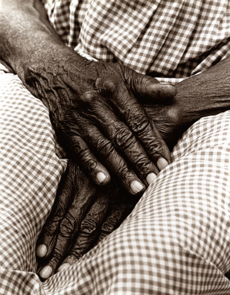 Photo of Alabama midwife's hands by Sharon D. Blackmon,  c1981. Courtesy of Sharon D. Blackmon