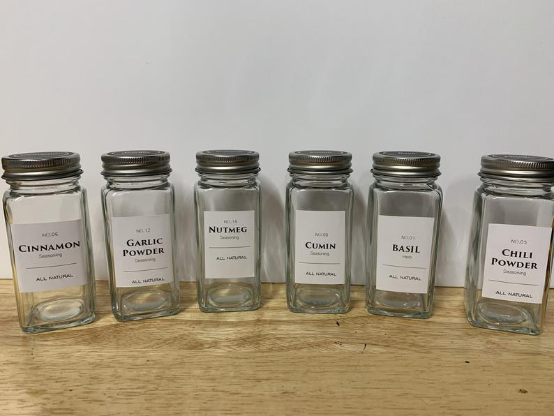 Glass Spice Shakers with Common Labels