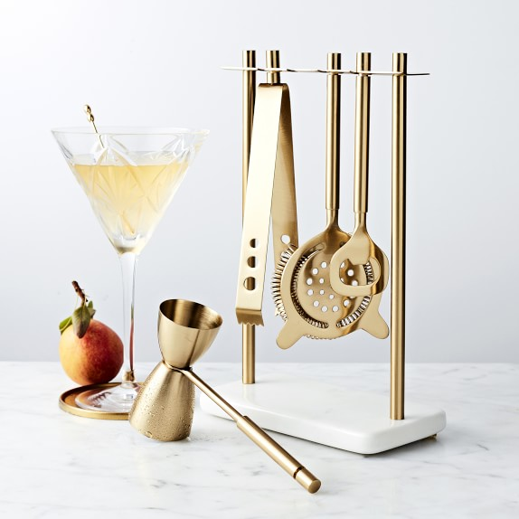 White Marble & Brass Hanging Bar Tools Set