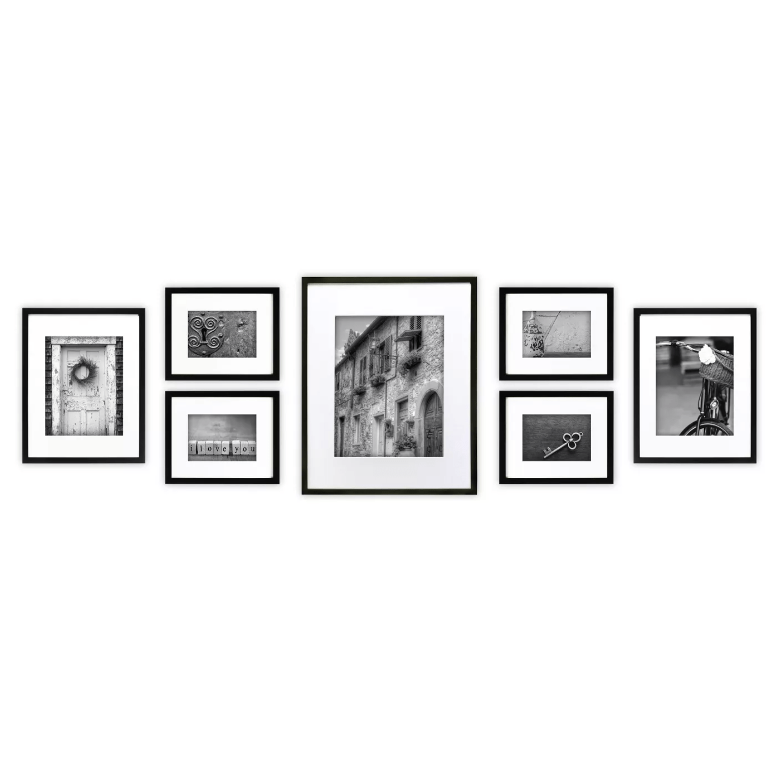 7pc Multi-Size Wall Frame Set Black From Gallery Perfect & Target