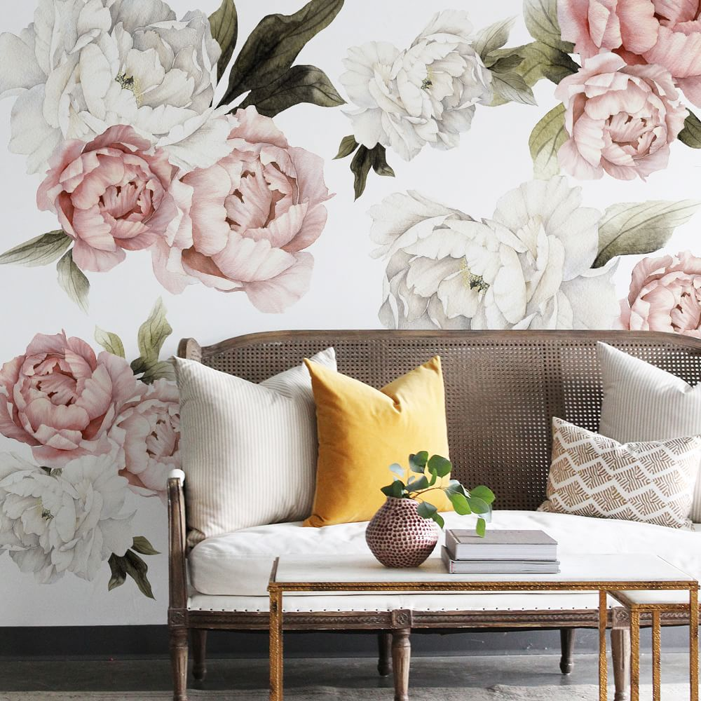Blushing Peonies Wall Covering from West Elm