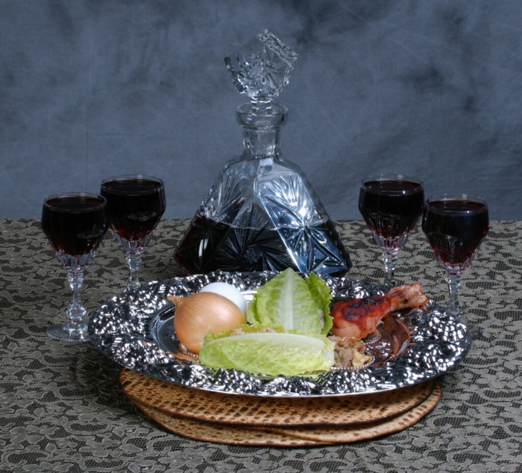 Passover PLate and 4 cups