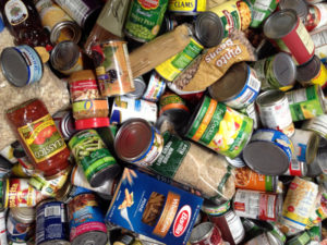 cans and boxes of food