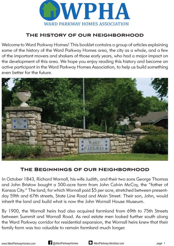 cover of Ward Parkway Homes Association History Booklet