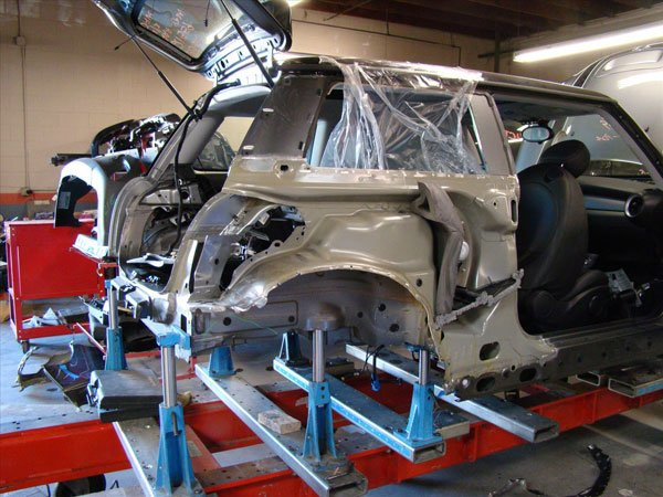 mini cooper collision repair progress