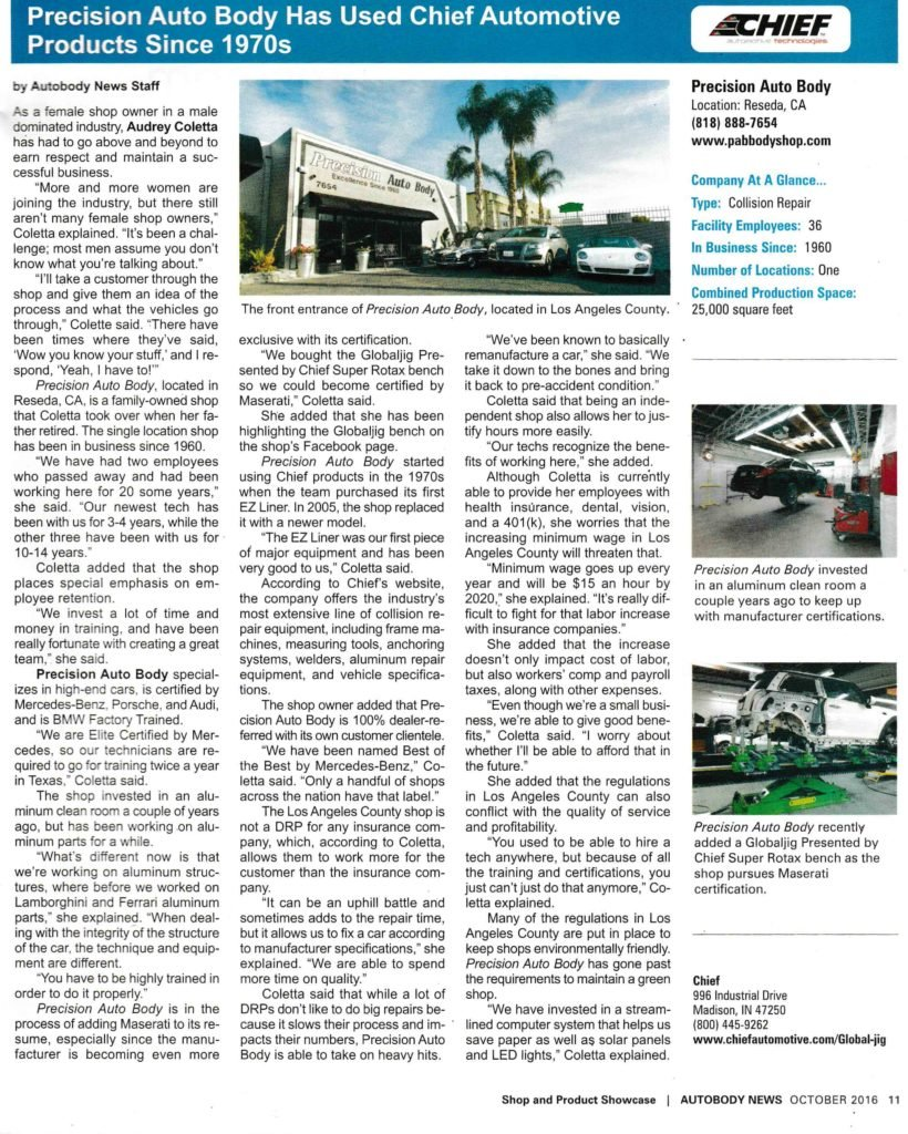 article on chief automotive products