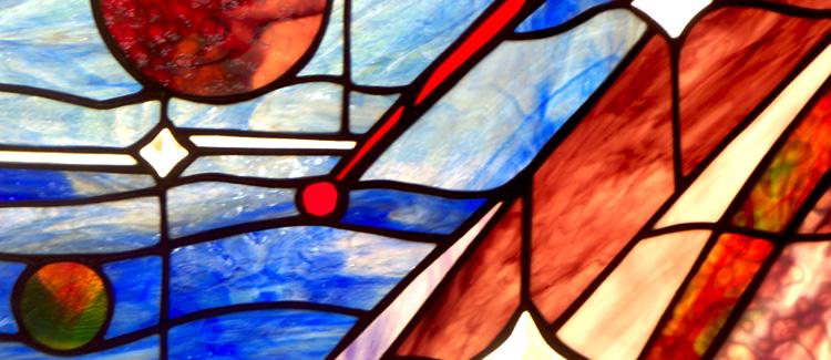 Stained glass celestial sky window