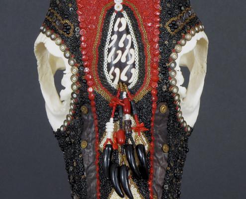 Huichol-inspired beaded blesbok antelope skull
