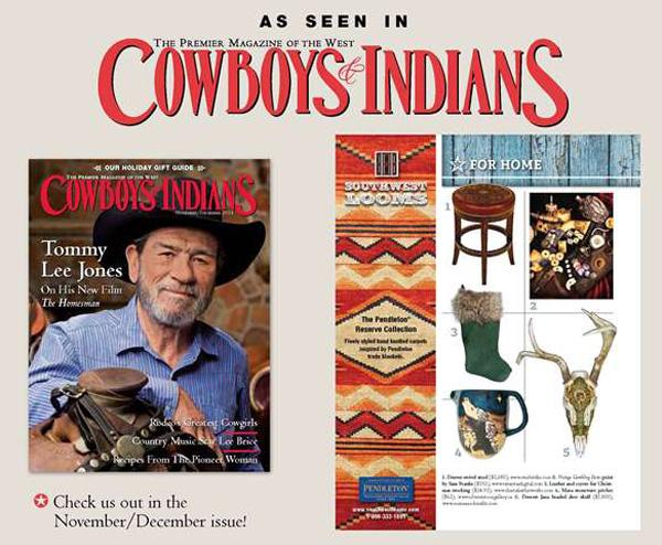 "Suzanne Schmaltz, featured Huichol-inspired beaded skull ""Deerest Jana"", Cowboys & Indians Magazine Holiday Gift Guide 2014"