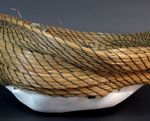 pit-fired ceramic pine needle art basket sculpture