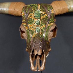Huichol-inspired beaded Scottish Highland Bull skull