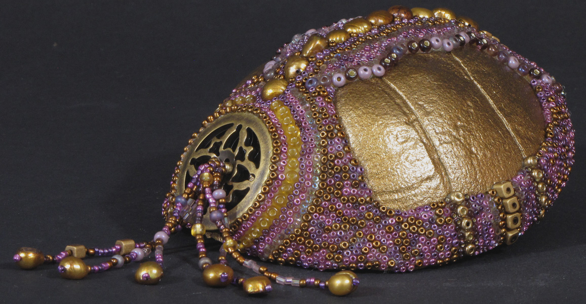 Huichol-inspired beaded turtle shell
