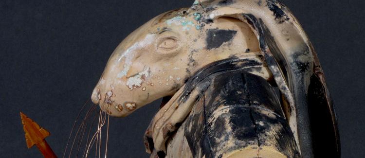 Pit-fired ceramic rabbit warrior sculpture