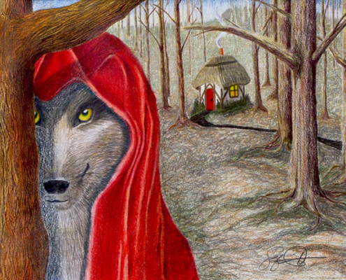 Colored pencil drawing, LIttle Red Riding Hood