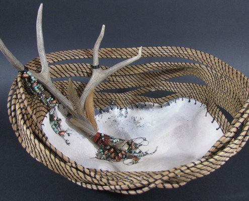 Pit-fired ceramic, pine needle basket art basket sculpture
