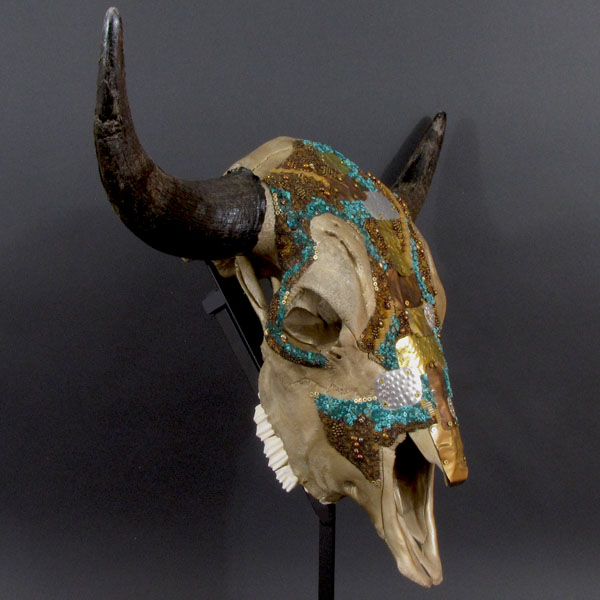 Huichol-inspired beaded bison skull